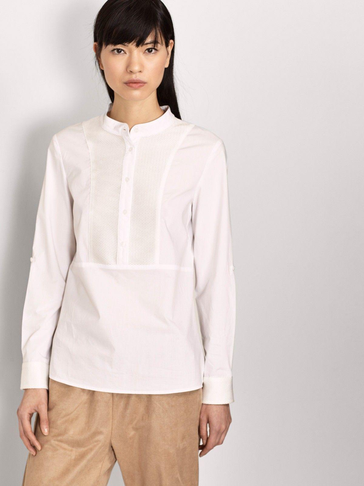 f0c72122e2e71 camisa blanca mujer cuello mao - detalle frontal Cuello Alto