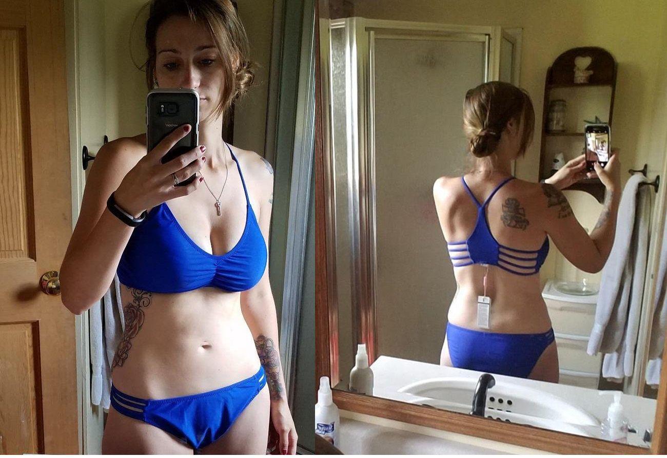 c0f63be8e9cd6 Women's Strap Side Bottom Halter Racerback Bikini Bathing Suits (FBA ...