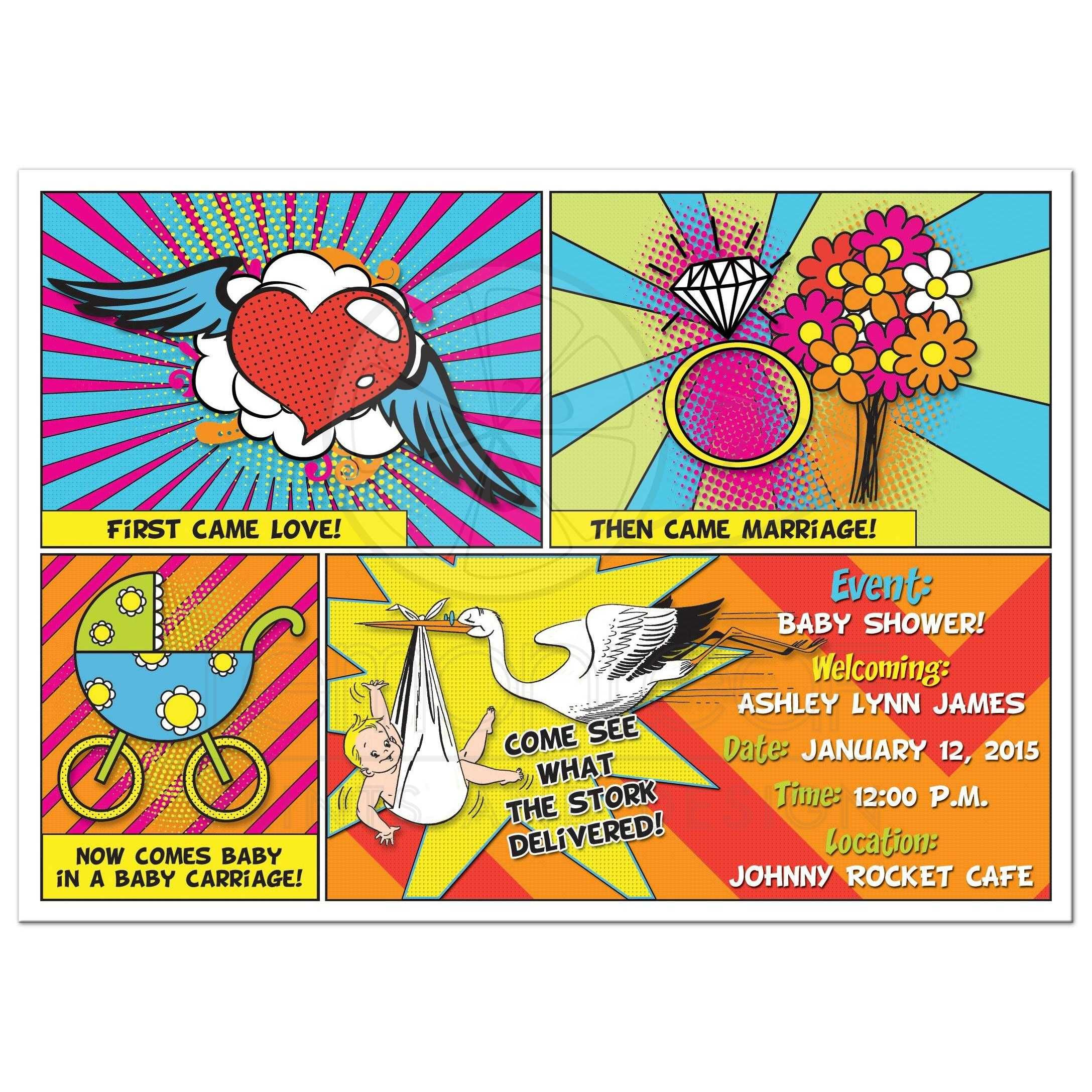 Comic Book Comics Pop Art Sip and See Baby Shower Invitation ...