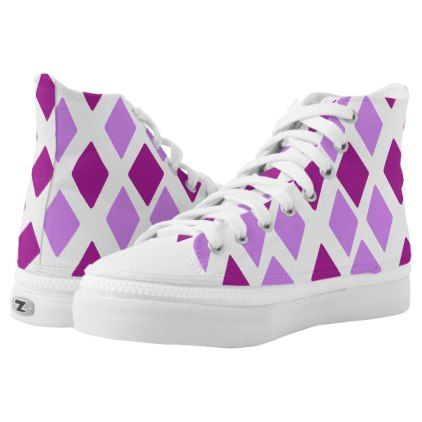 Heliotrope Violet Eggplant Diamonds High-Top Sneakers - patterns pattern special unique design gift idea diy