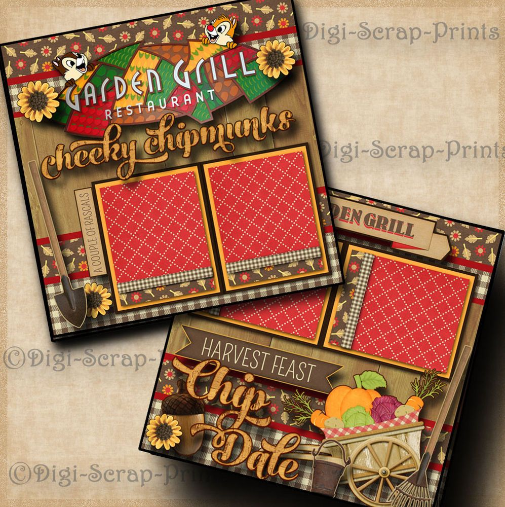 DISNEY GARDEN GRILL CHIP & DALE 2 premade scrapbook pages layout ...