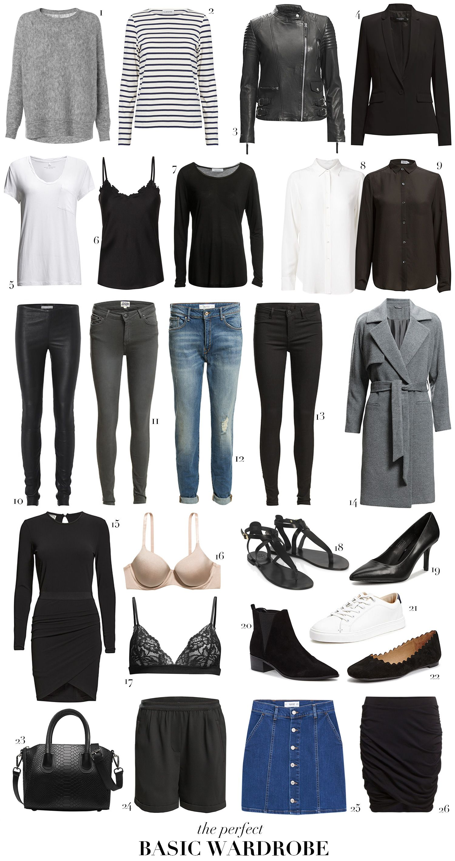 Example basic wardrobe - Use of black, white & grey is the easiest but