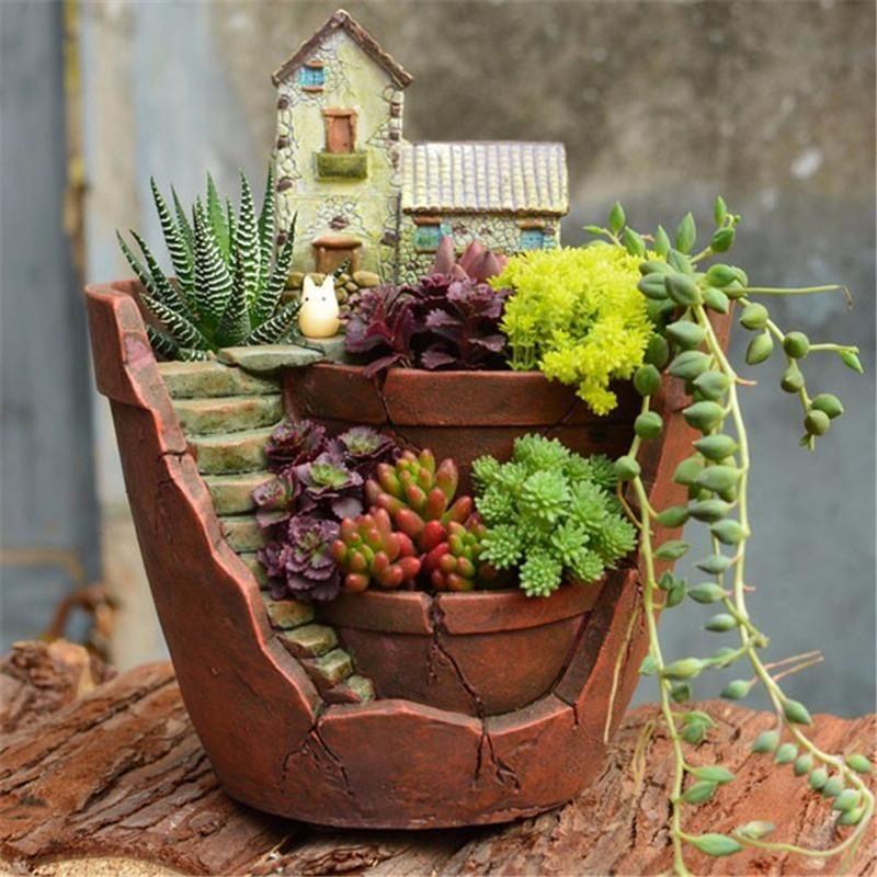 Fancy Resin Succulent Planter Flower Bonsai Pot Garden Herb Trough Box Basket Exquisite Flower Pots Plant Hydran Broken Pot Garden Flower Pots Succulent Pots