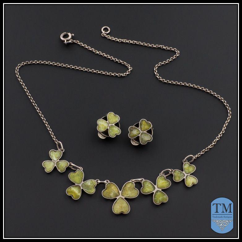 Sterling Silver Irish Connemara Marble Shamrock Necklace
