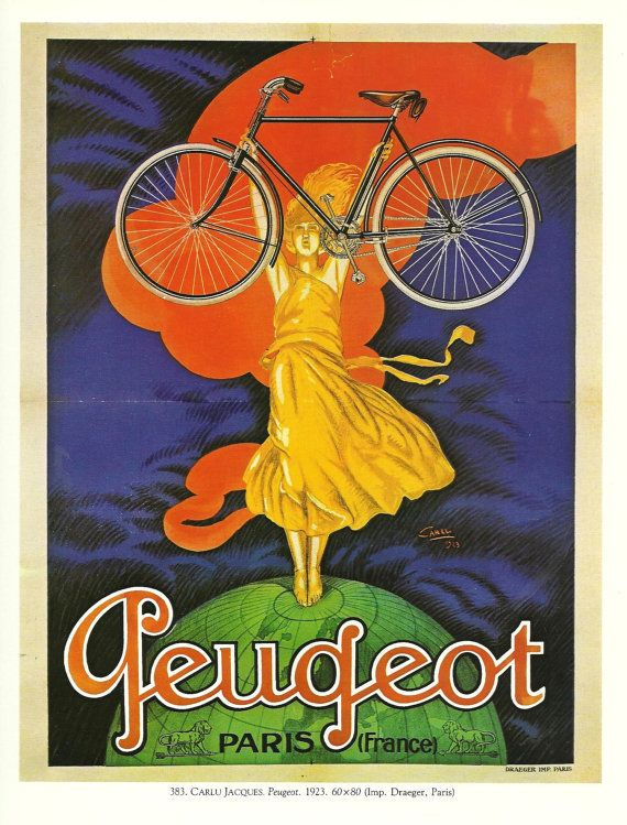 Antique French BIKE CYCLE advertising poster  1900s by FolieduJour, $9.00