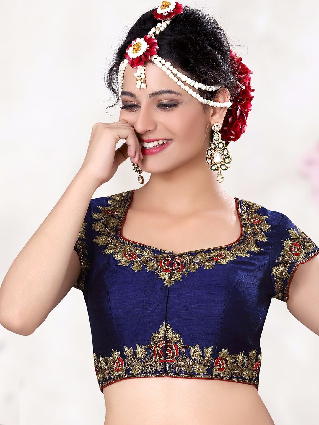 debeae1fe2ee2 Navy Raw Silk Designer Ready Made Blouse For price or detail do whatsApp  +91-9913433322