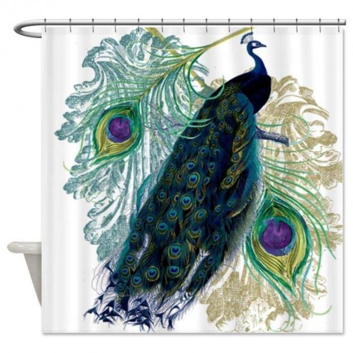 Classic Blue Shade Peacock Shower Curtain Design