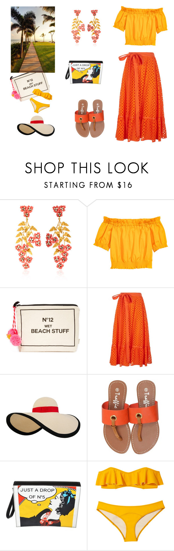 """""""Summer Sun Walk"""" by scolab ❤ liked on Polyvore featuring Jennifer Behr, Bag-All, Tory Burch, Eugenia Kim, Chanel and Lisa Marie Fernandez"""