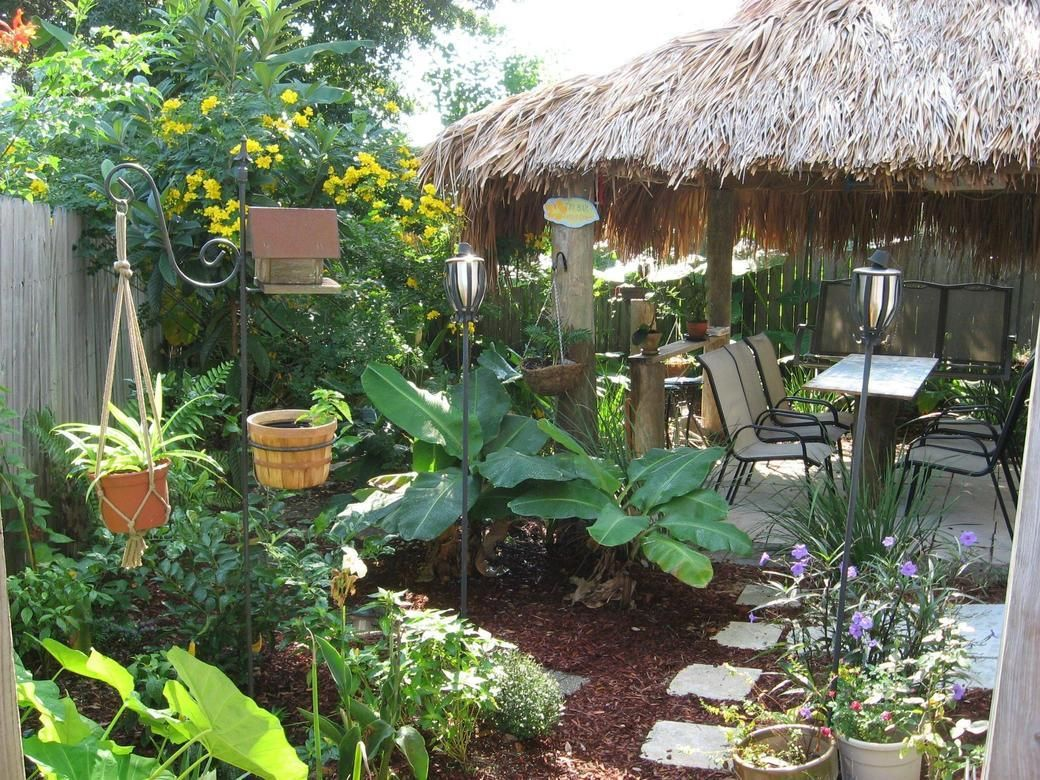 Tiki backyard looks amazing credit to r gardening for Pictures of backyard landscaping
