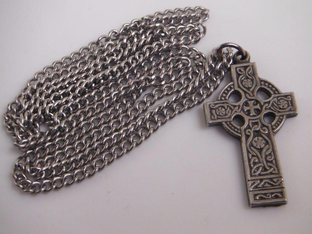 "Pewter Celtic Cross Pendant Necklace 24"" Chain"