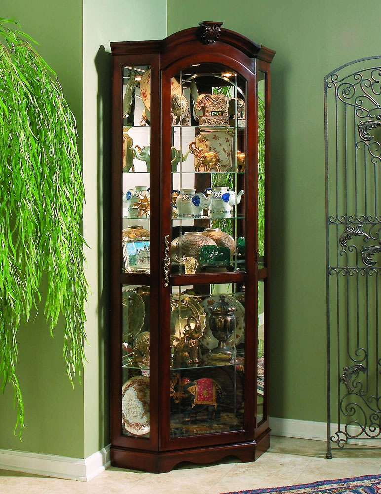 Corner Curio Cabinet   Medallion Cherry   IN STOCK CLEARANCE | Pulaski |  Home Gallery Stores