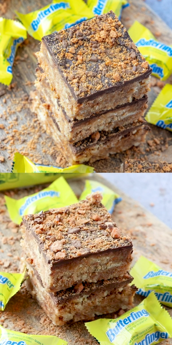 Crispety, Crunchy, Peanut-Buttery these Sweet & Salty Butterfinger Squares are a super fast, delicious dessert recipe that has minimal ingredients that even the novice baker can tackle!