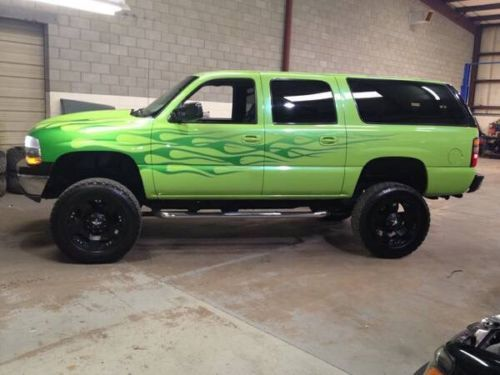 8 1 496 Big Block Lifted Suburban Lamborghini Green Monster 4x4