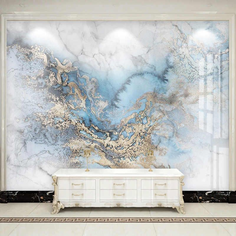 Modern 3D Abstract Blue Marble Wallpaper Living Ro