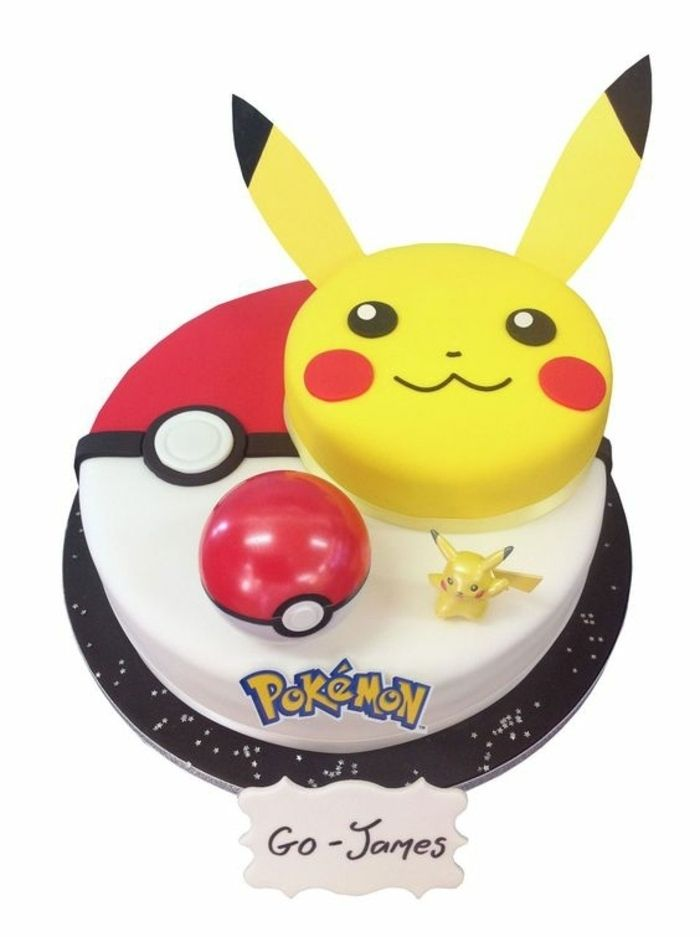 leckere pokemon torte ein gelbes l chelndes pikachu und ein roter pokemon ball leckere torten. Black Bedroom Furniture Sets. Home Design Ideas
