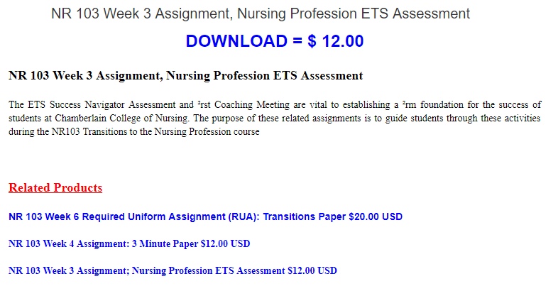 Buy To Download Nr  Week  Assignment Nursing Profession Ets  Buy To Download Nr  Week  Assignment Nursing Profession Ets  Assessment The Ets