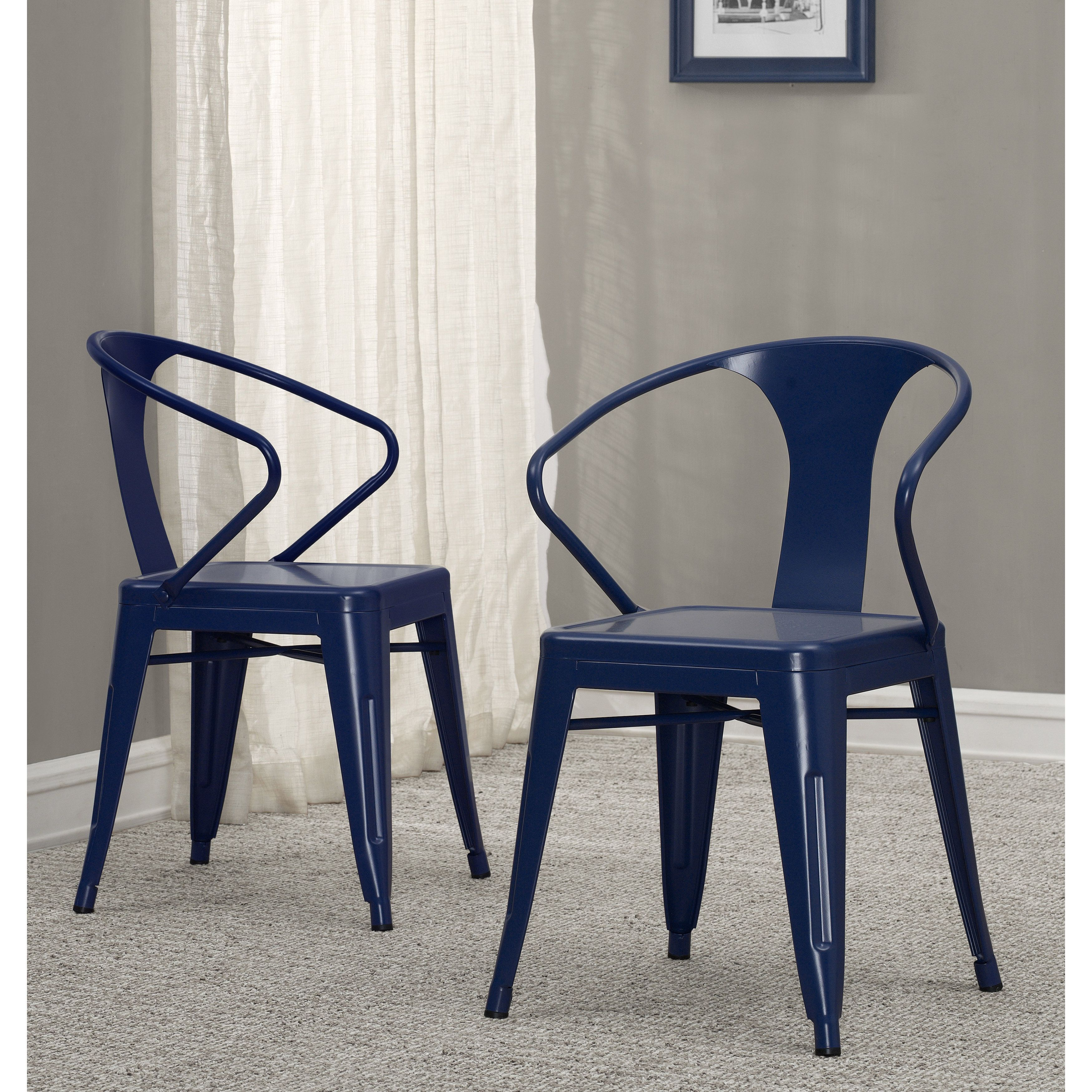 Tabouret Navy Metal Grey Stacking Chairs Set of 4 Navy
