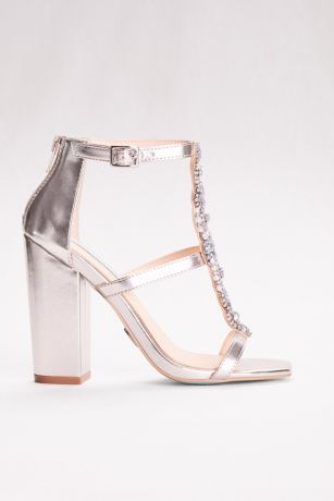 Dance the night away in this ravishing Betsey Johnson sandal with bejeweled T-strap and easy-to-wear block heel.  By Blue by Betsey