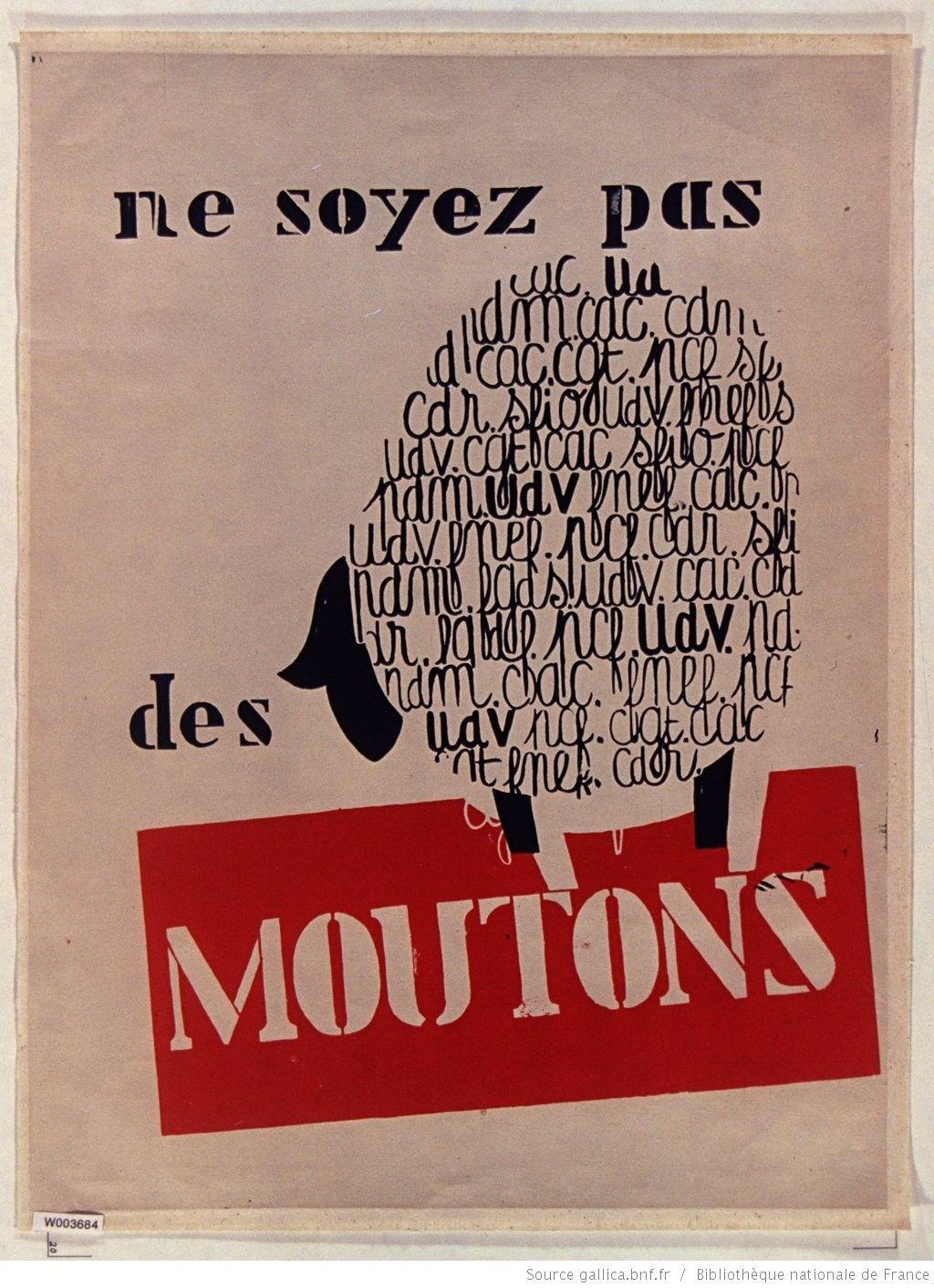 Mai 1968]. Ne soyez pas des moutons, Art et Archéologie : [affiche ...