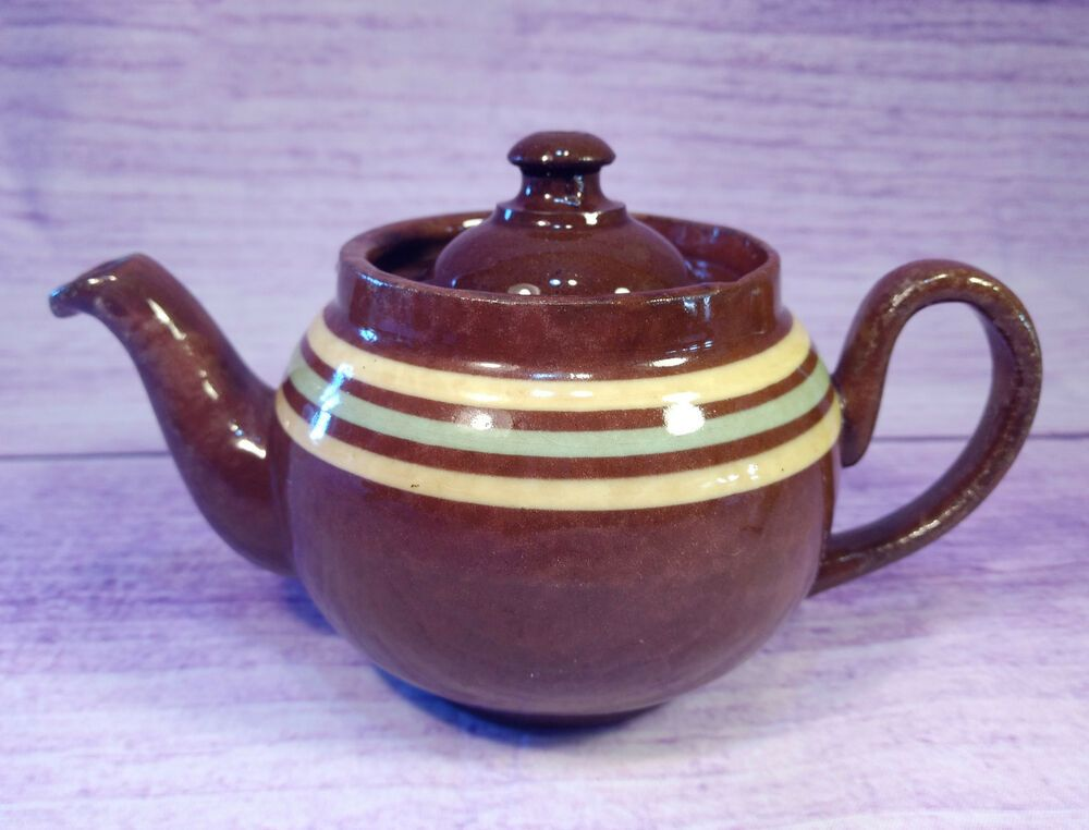 Alb Alcock Lindley Bloore Striped Brown Betty 12 Oz Teapot England Vintage Bands Tea Pots Tea Pot Set Coffee Yogurt