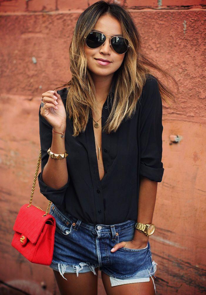 completi giacca nera e jeans estivi