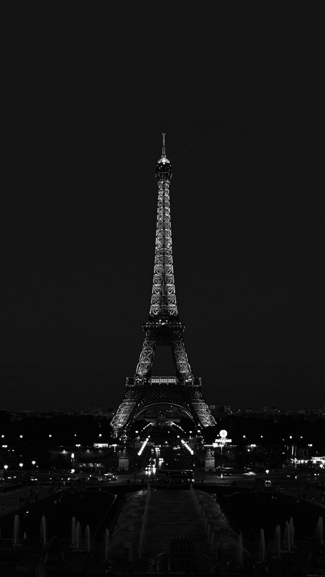 Eiffel Tower At Night Black And White Wallpaper Paris Wallpaper