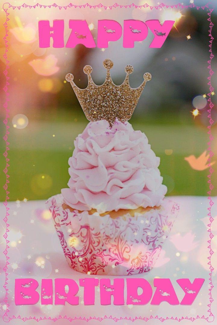Happy birthday crown cupcake beautiful birthday cards
