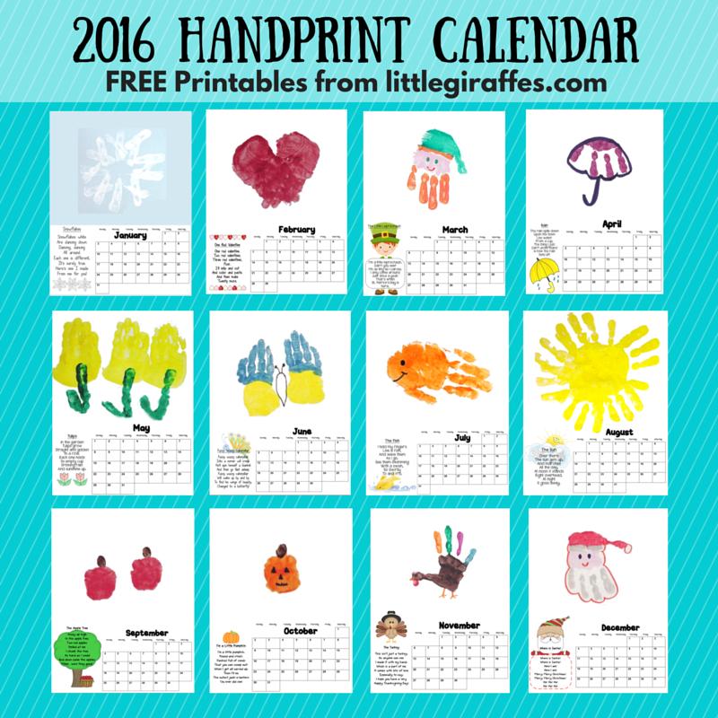 2016 Free Printable Calendars Kids Calendar Handprint Calendar Calendar Craft
