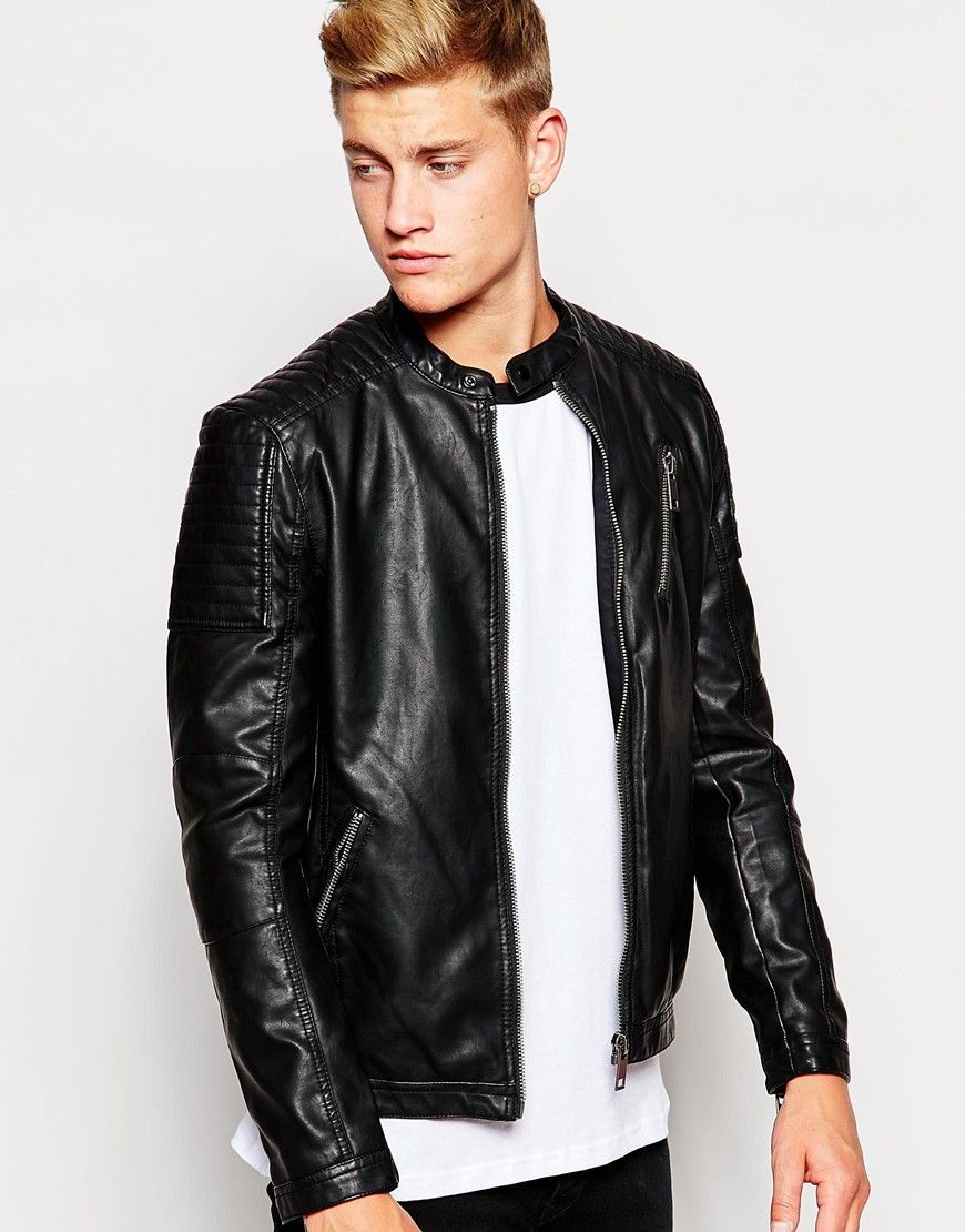 New Look Faux Leather Zip Jacket At Asos Com байкерская куртка модели куртка