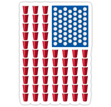 Beer Pong Drinking Game American Flag Sticker By Theshirtyurt American Flag Sticker Beer Pong Tables Beer Pong Cups