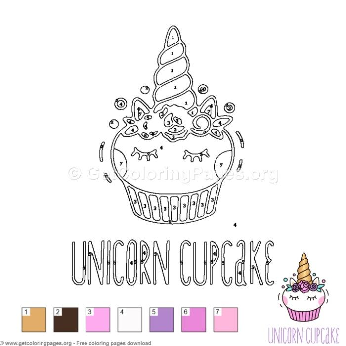 Unicorn Cupcake Color by Number Free instant download # ...
