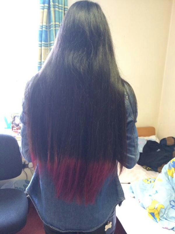 Pinkpurple Dip Dye On Dark Brown Hair Using Schwarzkopf Live Colour