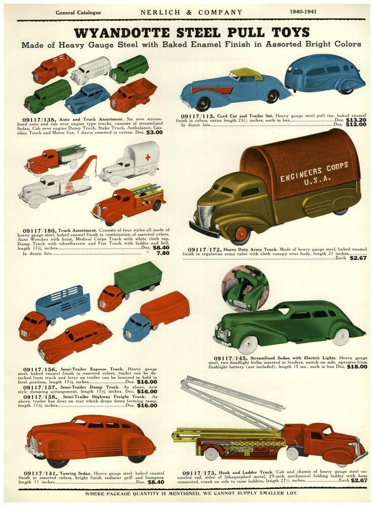 1940 Paper Ad 2 Sided Color Wyandotte Toy Pull Cord Car Trailer Bus Dump Truck Ebay In 2020 Car Trailer Cord Car Car