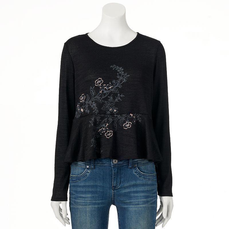 NEW Women/'s LC Lauren Conrad Embroidered Hi Low Peplum Top Shirt