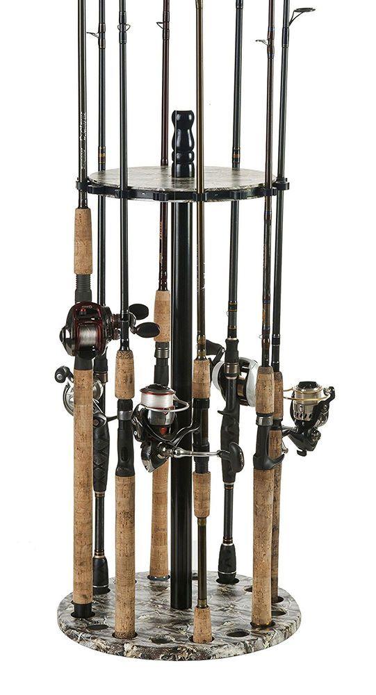 Wood Pole Stands ~ Fishing rod rack pole storage holder wood stand organizer