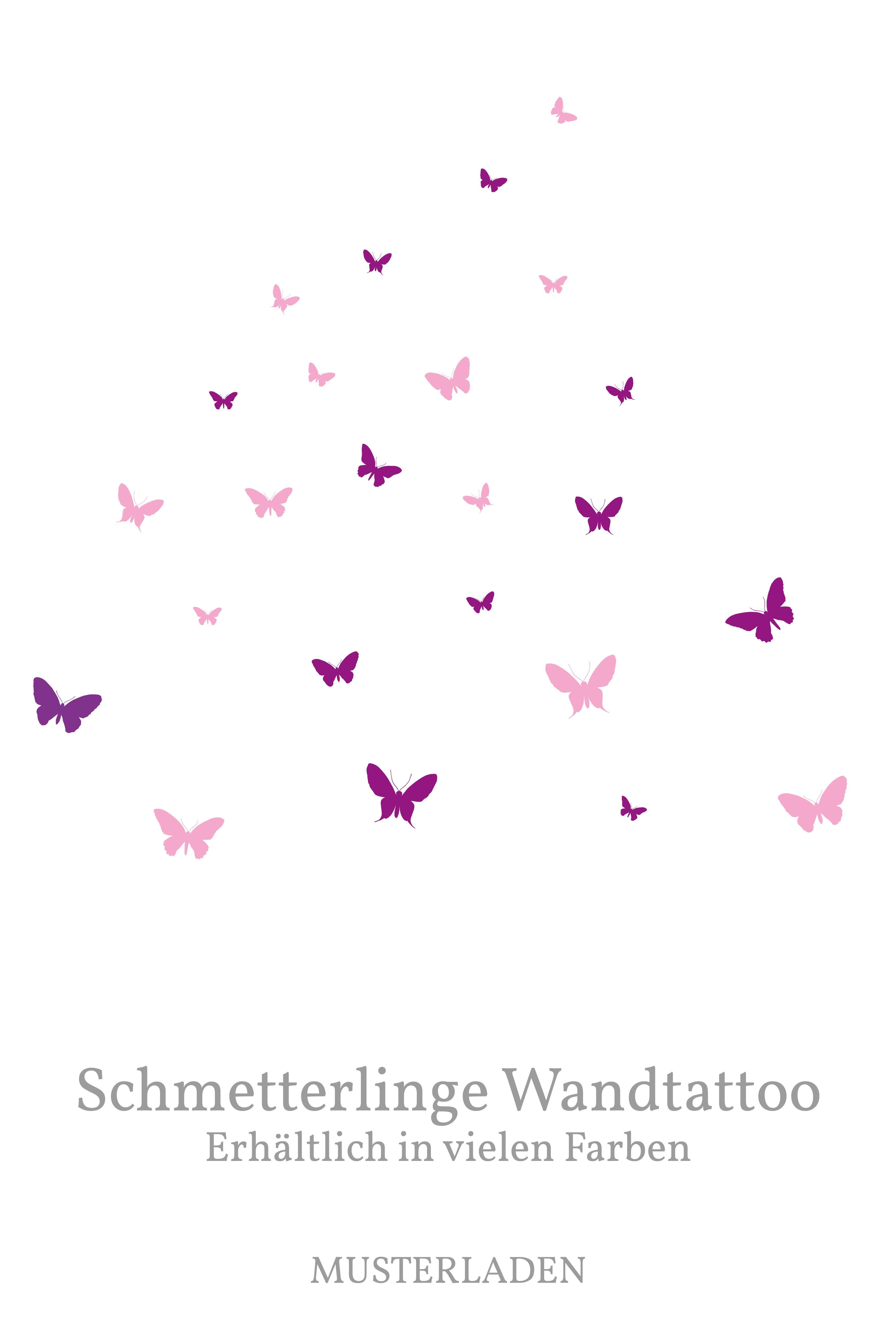 Schmetterlinge Wandtattoo - Set mit 24 in 2 Farben