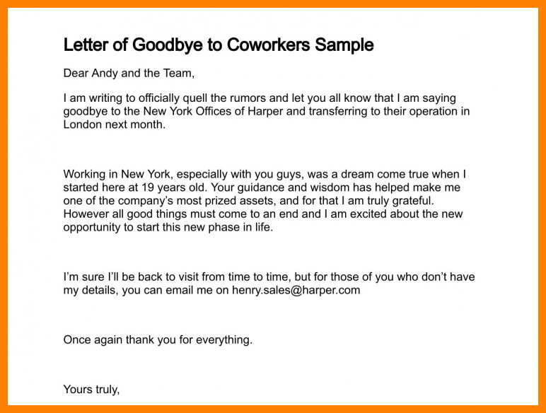 goodbye letter coworkers sample how write good bye ...