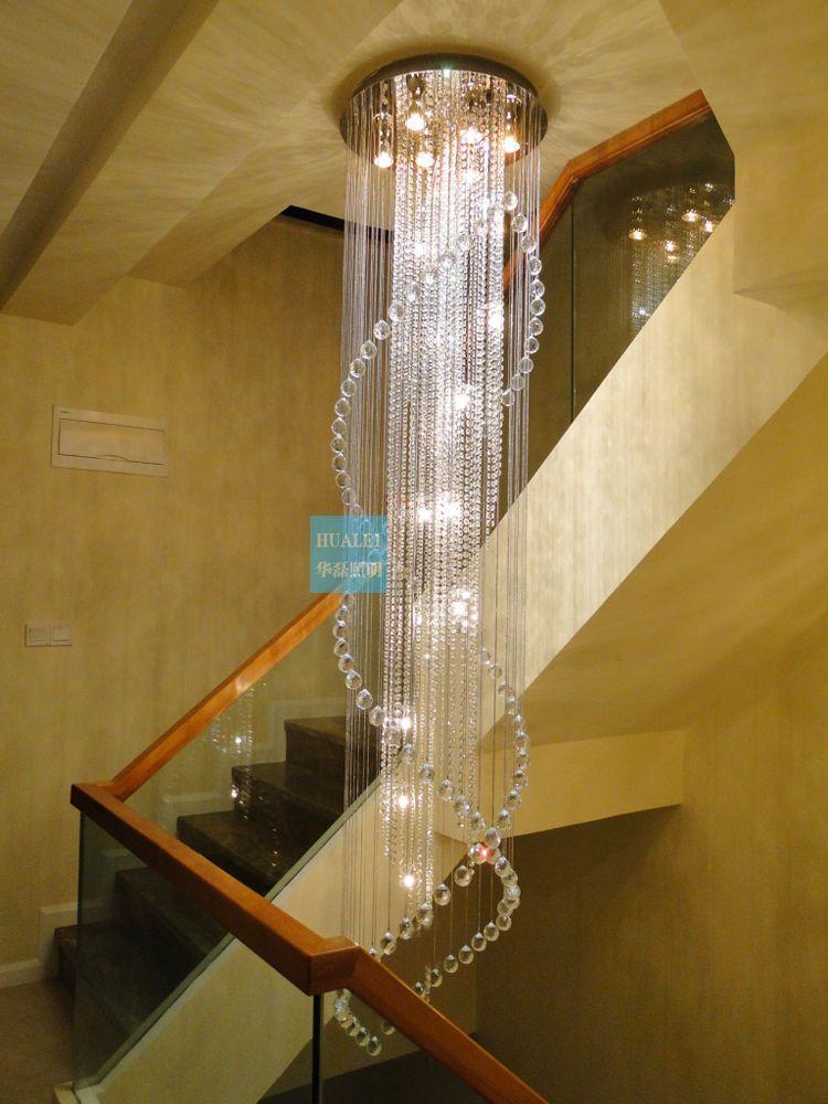 Crystal Chandelier Ceiling Stair Hybrid Long Fixture Curtain Pendant Lamp Light Cz Modern Staircase Chandelier Acrylic Chandelier Modern Chandelier