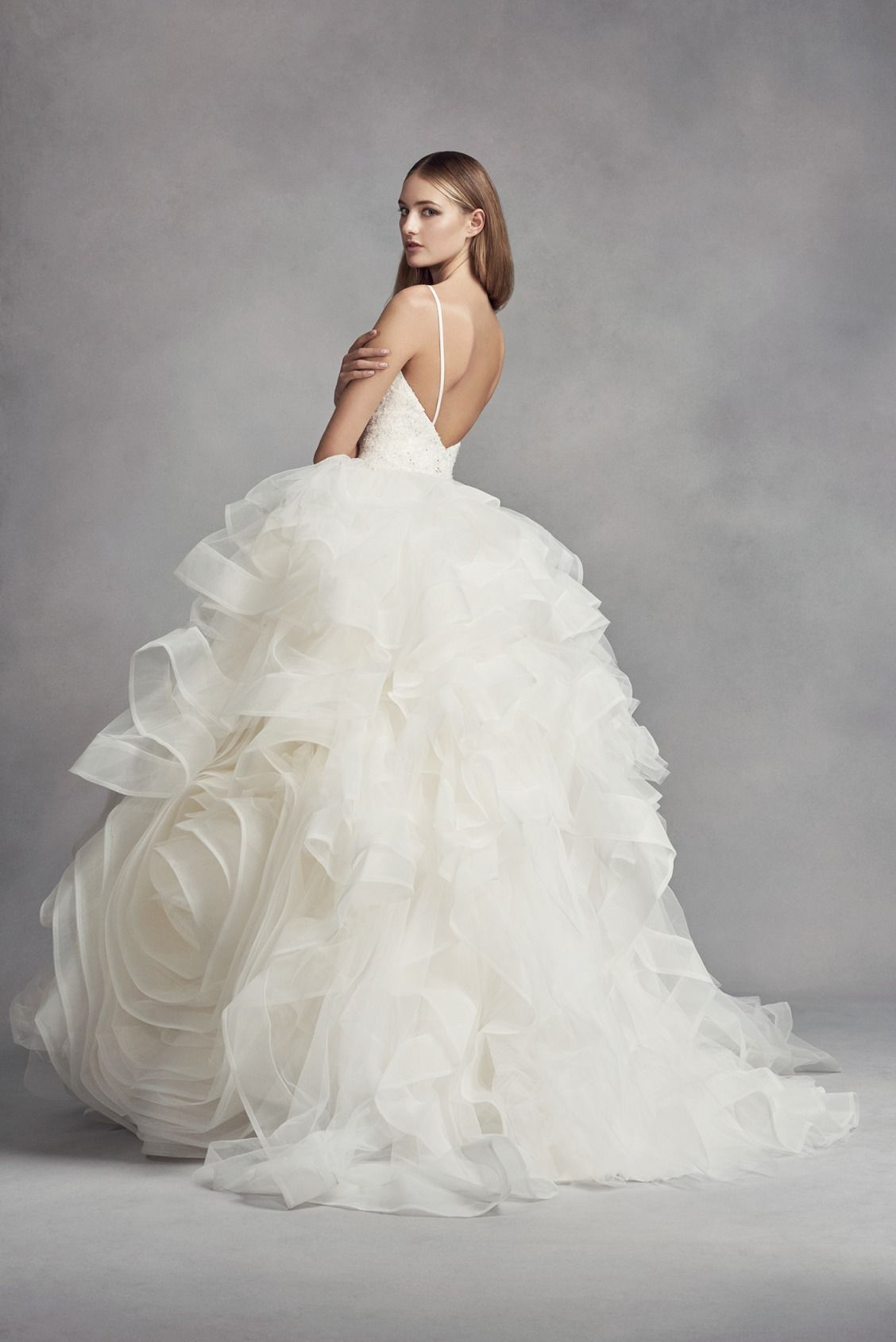 Spaghetti Strap V-Neck Organza Rosette Ball Gown Wedding Dress by WHITE by  Vera Wang available at David s Bridal 8e7c6ea7a74e