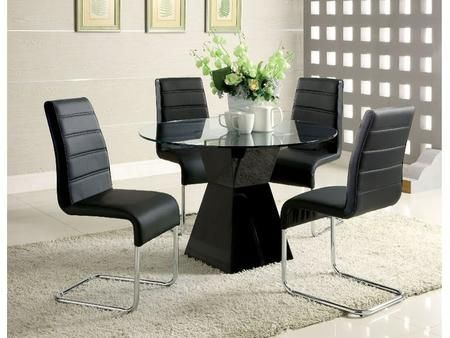Mauna Collection Cm8371bktdt4sc 5 Piece Dining Room Set With 45 Round Dining Table And 4x Side Dining Room Sets Dining Table Glass Top Dining Table