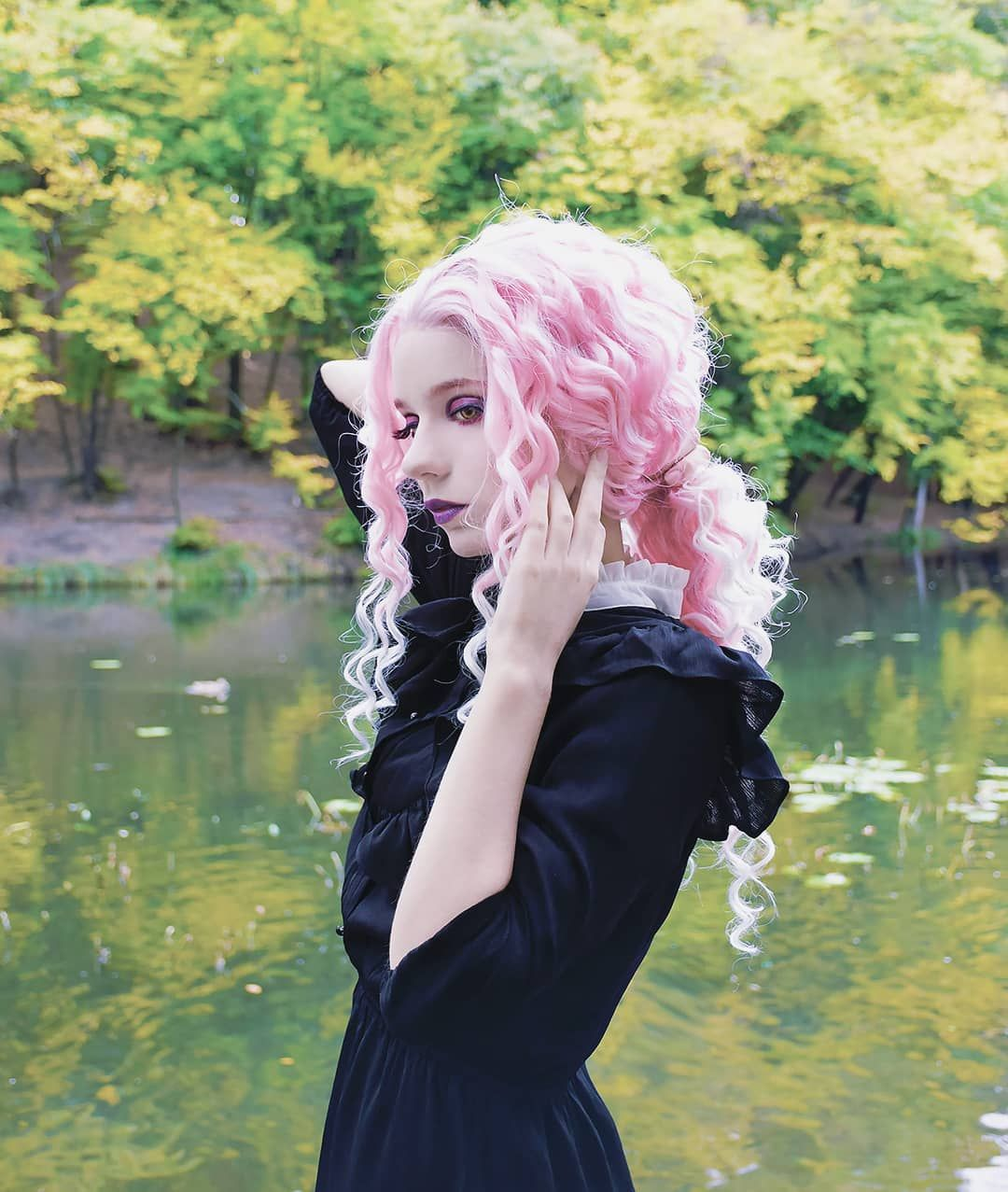 Pink to White Hair; Waist Length; Curly Wig Lace front
