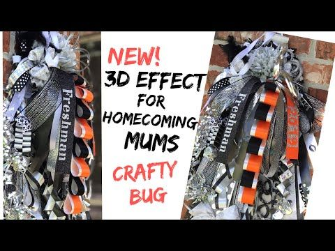 NEW 3D effect for Homecoming mum; DIY HOMECOMING MUMS; how to make a girls homecoming mum