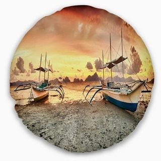 Designart 'Boats at Sunset' Seashore Photography Throw Pillow (Rectangle - 12 in. x 20 in. - Medium), Yellow, DESIGN ART(Polyester, Graphic Print)