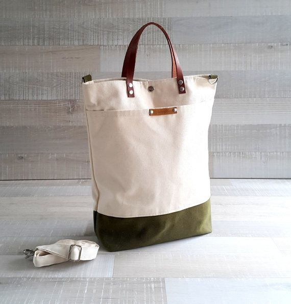 8d5a75eef586 Comfy Unisex Tote, canvas tote bag, Natural Cream and army green ...