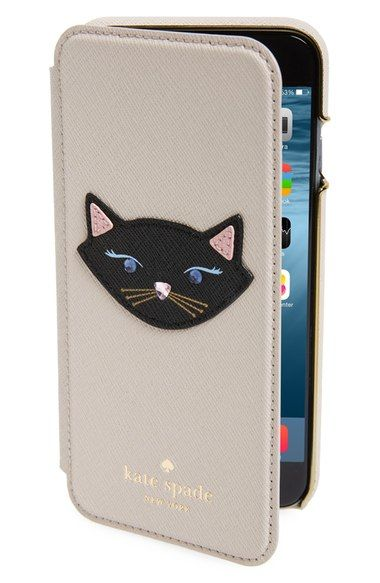 official photos aabce 66040 kate spade new york leather cat appliqué iPhone 6 & 6s folio case ...