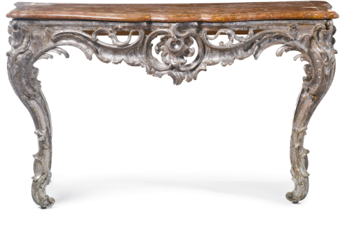 A South German Rococo carved and silvered console table possibly Ansbach, mid-18th century | lot | Sotheby's