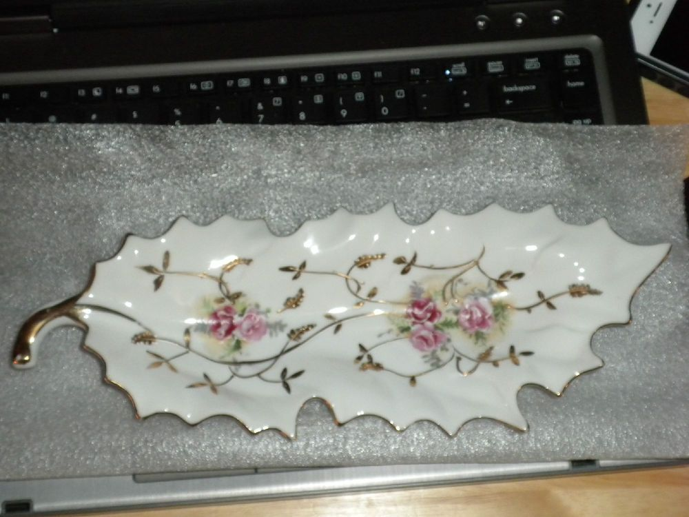Old Rose Motif Gold Trimmed Decorative Leaf Shaped Dish Arnart Circa 1950 NICE!