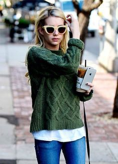 bb72d600917 Fall outfit inspiration. Hunter green cable knit sweater