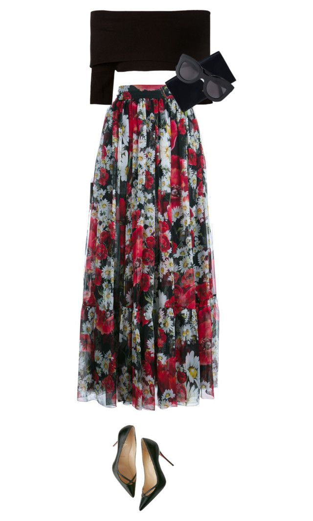 """""""Flamenco Inspired //"""" by prayingtosaintlaurent ❤ liked on Polyvore featuring Dolce&Gabbana, Dorothee Schumacher, Christian Louboutin, Prada and CÉLINE"""