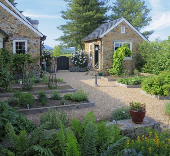 Pea Gravel With Raised Beds Backyard Backyard Landscaping Gravel Landscaping